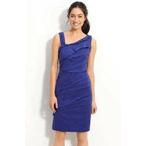 Suzi Chin Ruffle Trim Stretch Cotton Sheath Dress
